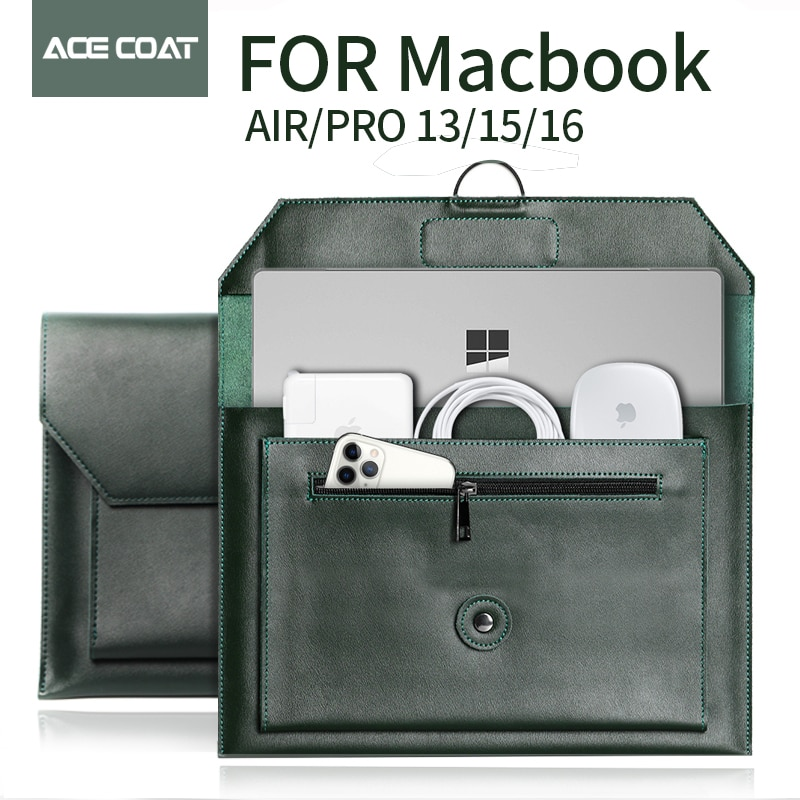 ACECOAT حقيبة الكمبيوتر المحمول الأخضر الداكن انقسام الجلود حقيبة كمبيوتر محمول لماك بوك اير/برو 15/16 كمبيوتر محمول كم 13 مجموعة حزمة 2020