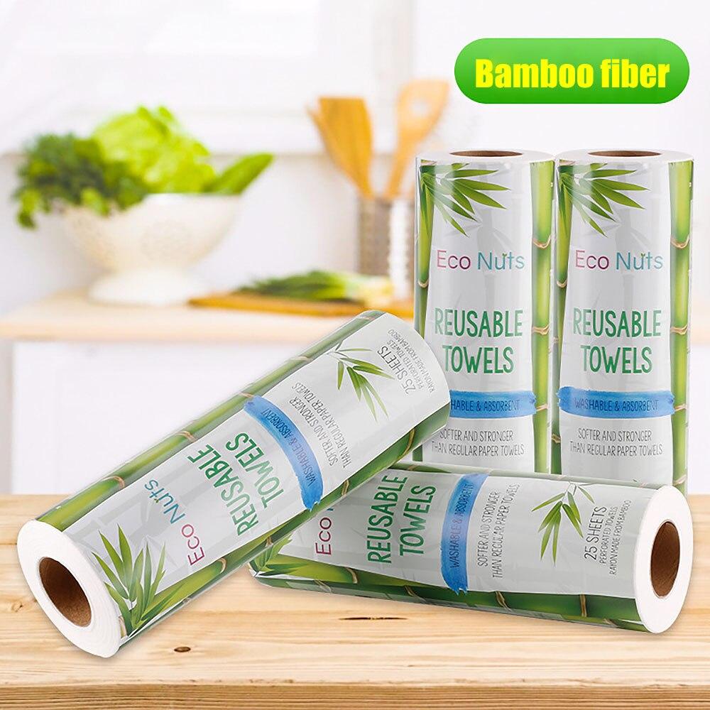 25 uds./rollo de toallas de bambú reutilizables, paño de cocina de bambú, rollo de papel toalla orgánica lavable, paños de cocina, paño de limpieza