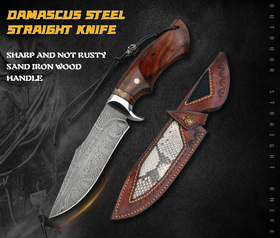 Forged Damascus feather steel straight knife outdoor hunting knife camping self-defense knife machete tactical survival tools