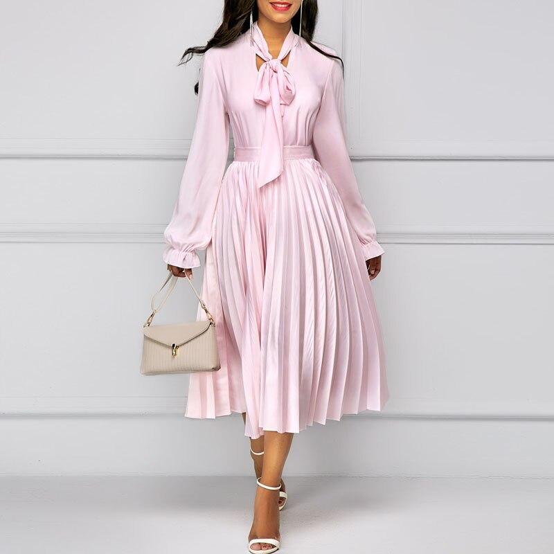 2019 faldas largas de chifón para mujeres con cremallera estilo Inglaterra Rosa falda señora Saia línea Maxi faldas personalizadas