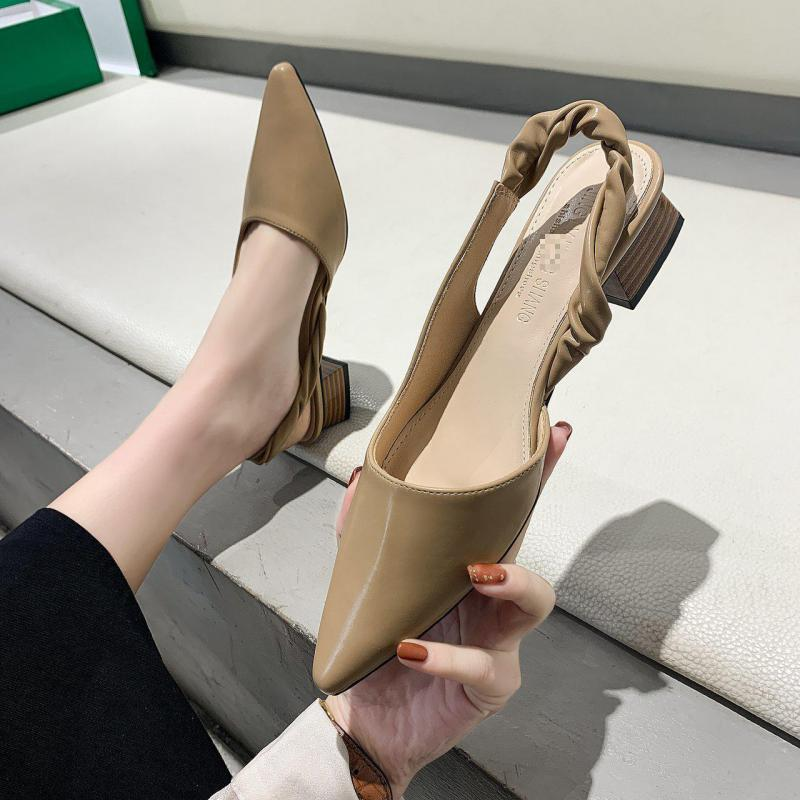 Women Sandal 2021 Summer New Slip-on Sandals Ladies Pointed Toe Shallow Leather Thick Heeled Women's Shoes Sandalias Mujer big bowtie women sandals round toe breathable air mesh female shoes shallow slip on low heels black summer sandalias mujer