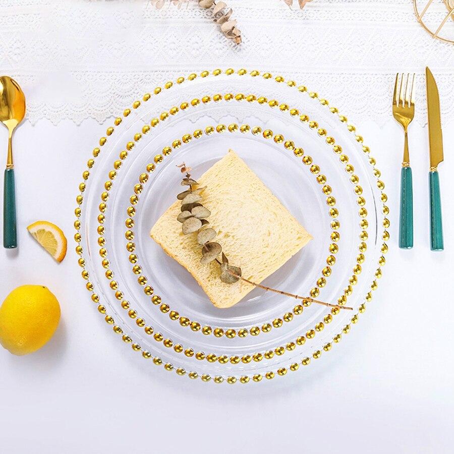 أطباق عشاء عيد الميلاد الفاخرة الذهب الأبيض حافة الفاكهة الشمال شفافة تخدم صينية صغيرة المطبخ Vajillas أواني الطعام ZZ50ZP