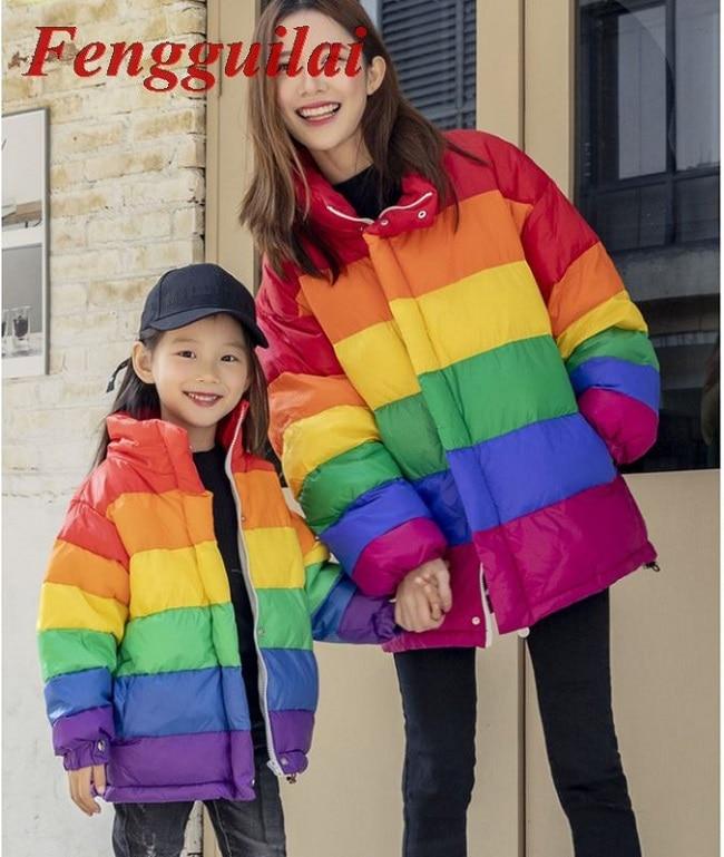 2020 winter new Korean version of the loose large size rainbow parent-child cotton suit mother and child coat недорого
