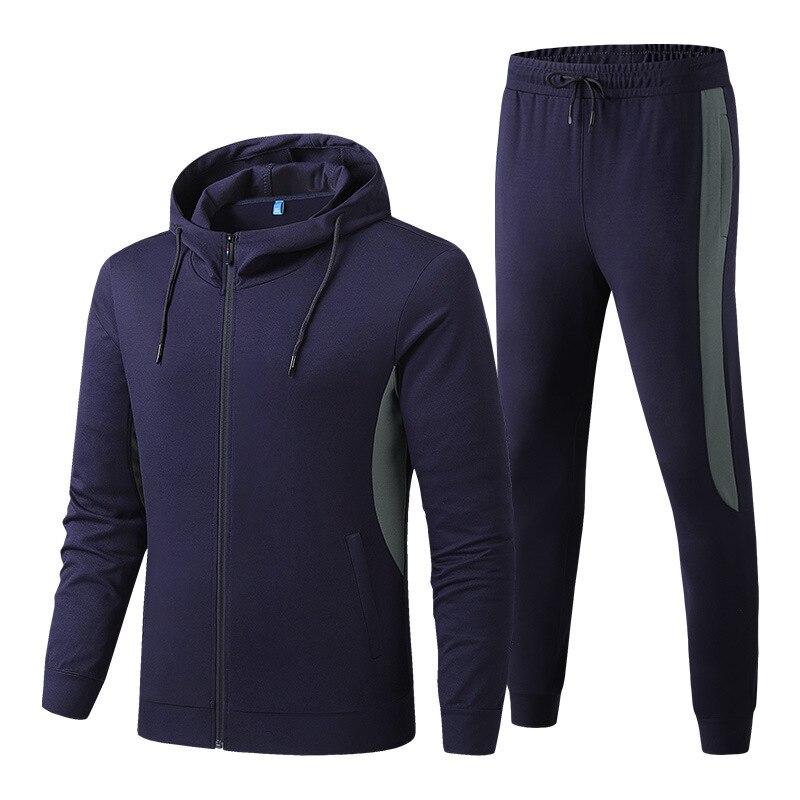 2020 Autumn Sports Men's Hooded Two-piece Suit Men's Outdoor Fitness Sportswear Plus Size Casual Suit  Workout Clothes for Men
