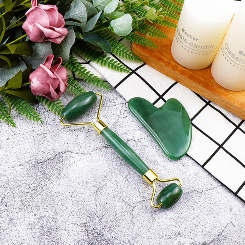 Green natural jade Roller and Gua Sha Tools Set by Natural Jade Scraper Massager with lift for Face Neck Back and Jawline