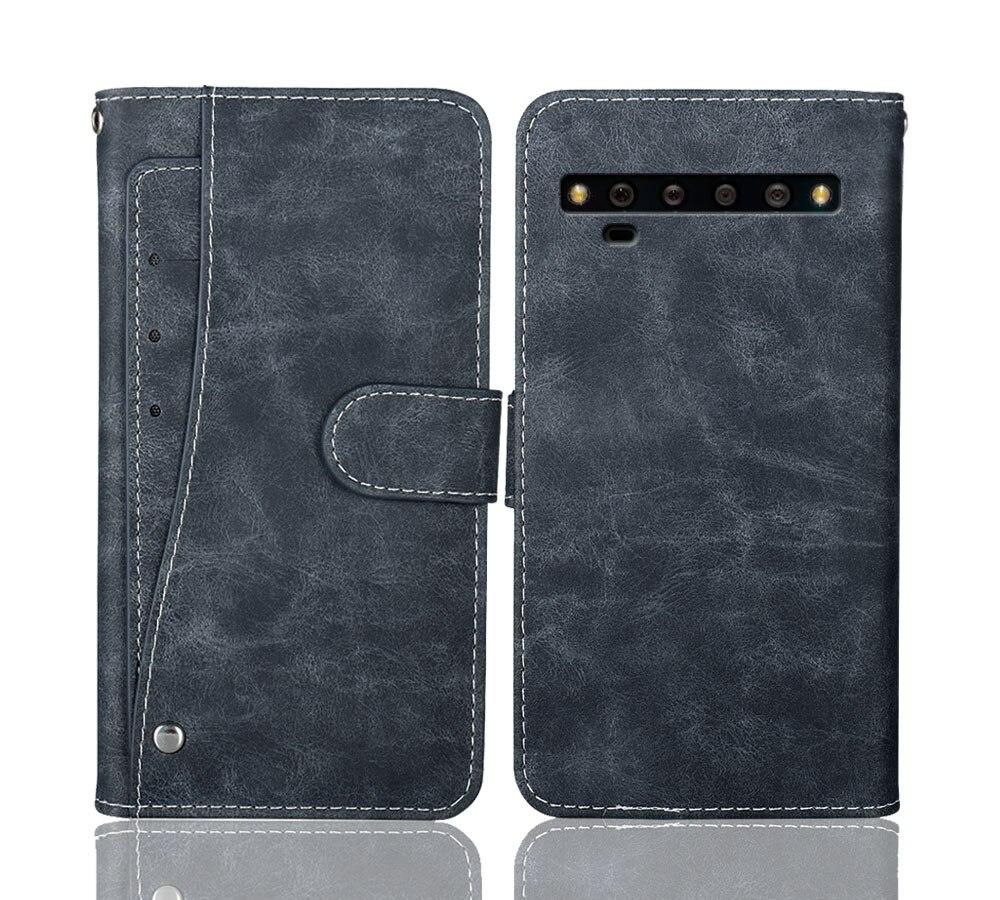 """Luxo carteira tcl 10 pro caso 6.47 """"do vintage flip couro negócio capa protetora para tcl 10 pro caso com slots de cartão"""