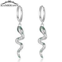 silver earrings 925 snake small green zircon stud earrings for women crystal piercing earring sterling s925 jewelry pendientes