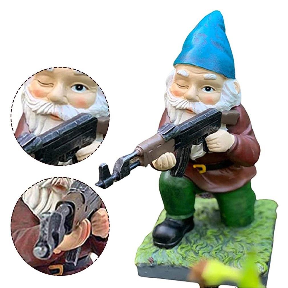 Funny Army Garden Gnome Statue Lawn Desk Resin Garden Yard Gnome Cartoon Resin Sculpture Outdoor Ornament Statues
