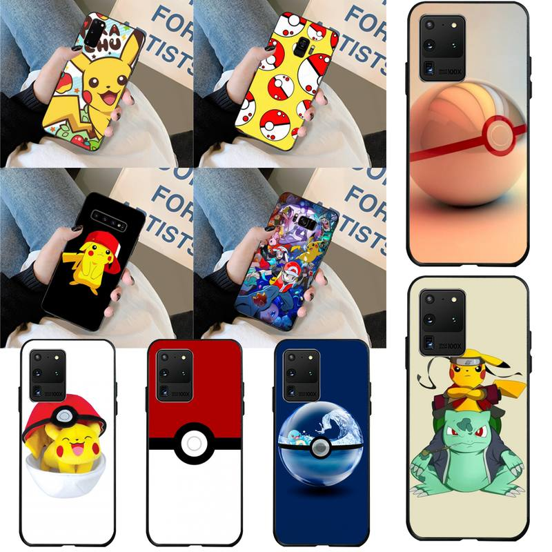 Capa de celular mole para samsung pokemons, capa preta de celular para samsung s20 plus ultra s6 s7 edge s8 s9 plus s10 5g
