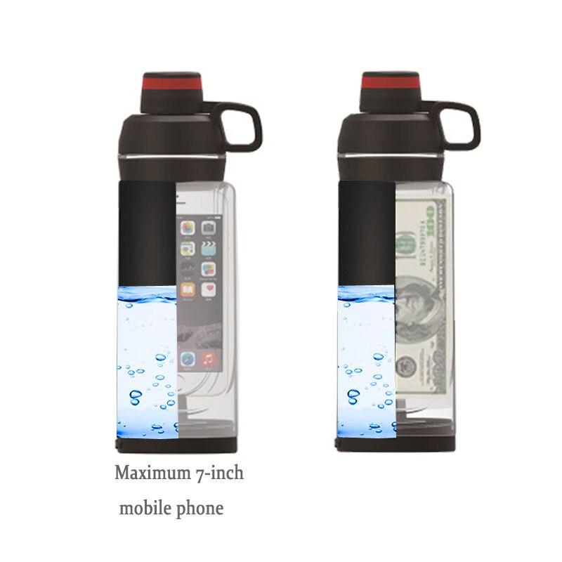 تحويل زجاجة ماء مع جيب للهاتف سر خبأ منظم حبوب يمكن آمنة قدح بلاستيكي وإخفاء بقعة لأداة مكافأة المال