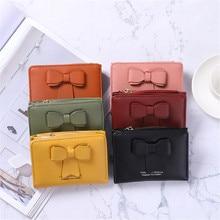 Women Fashion Wallet Case Solid Color Credit Card ID Card Multi-slot Card Holder Ladies Short Pendan