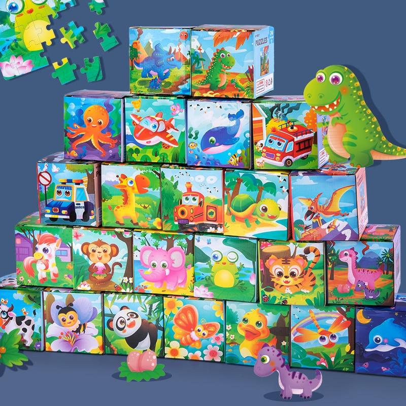 Новейшая 24 шт. деревянные пазлы сюрприз коробка для маленьких детей Дерево мультфильм Животные обучения Игрушки для раннего развития детей...