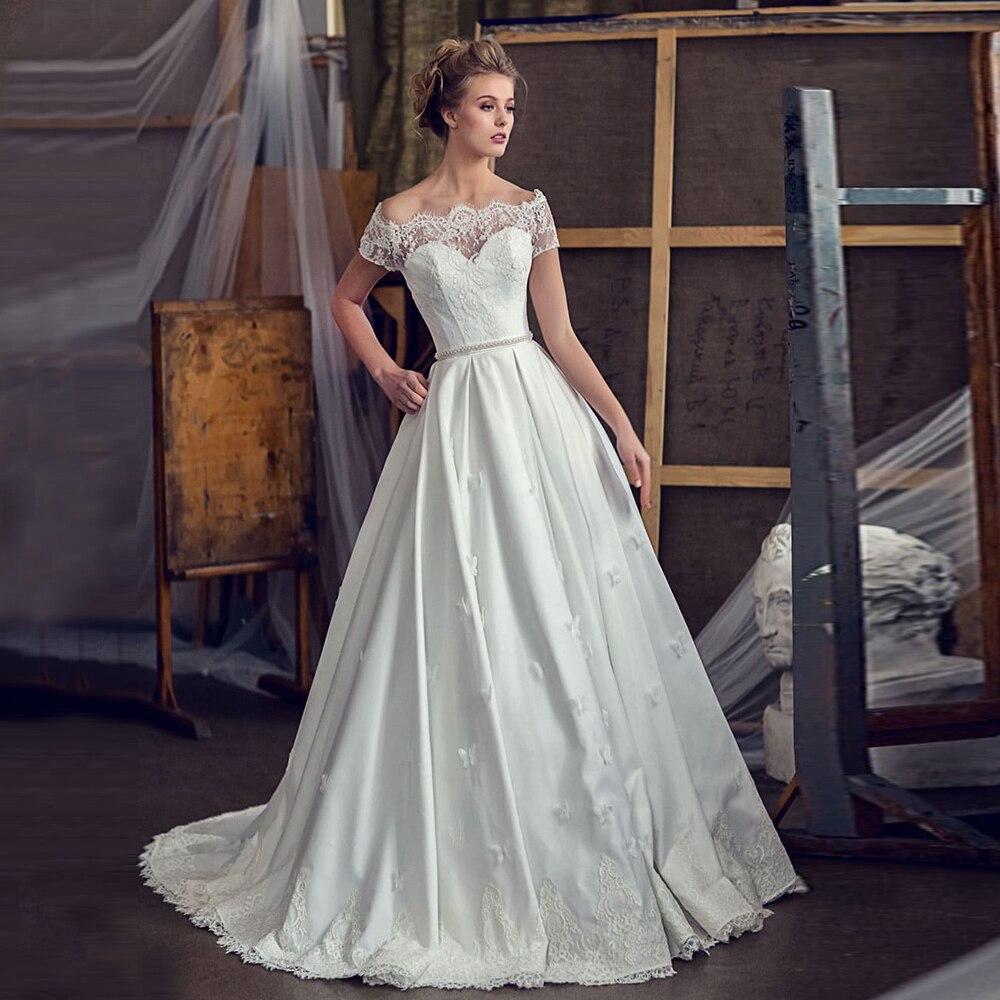 Promo Dresses For Women 2021 Elegant Wedding Off Shoulder Short Sleeves Boat Neck Sweep Train Button Back Bridal Gown For Woman 2021