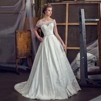 dresses for women 2021 elegant wedding off shoulder short sleeves boat neck sweep train button back bridal gown for woman 2021