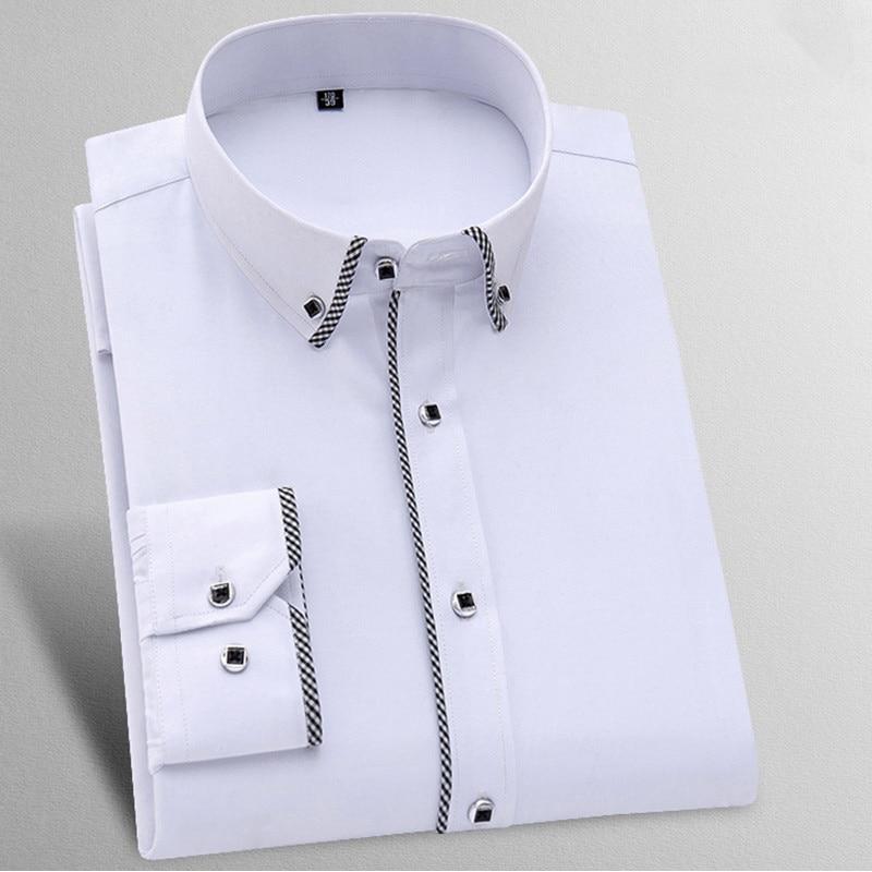 Men Dress Shirts Long Sleeve Button Down Regular-Fit Long Sleeve Business Formal Shirt