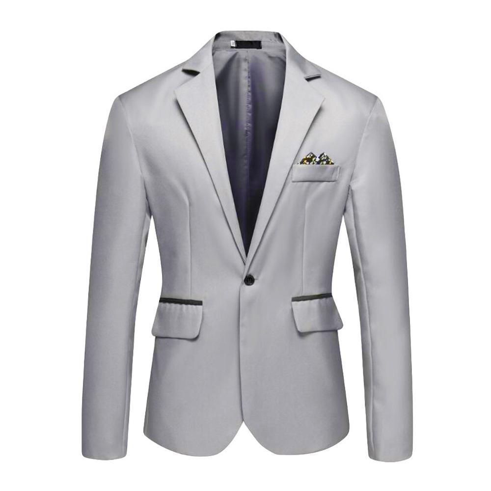 Chaqueta lisa de estilo informal para hombre, abrigo para negocios, boda, fiesta, para primavera y otoo, 2021