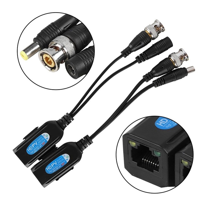 5Piars Passive CCTV Coax BNC Video Power Balun Transceiver to RJ45 Connector For IP Cameras enlarge