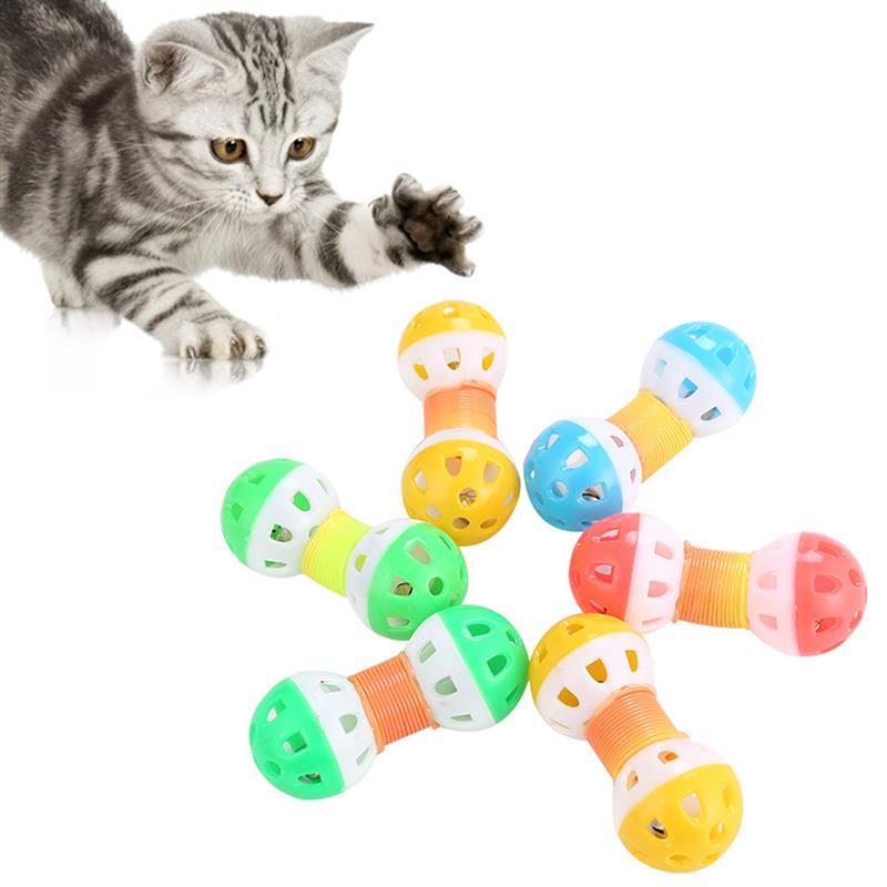Dorakitten 1pc engraçado brinquedo do gato criativo primavera sino haltere forma gato teaser brinquedo gato brinquedo interativo suprimentos para animais de estimação cor aleatória