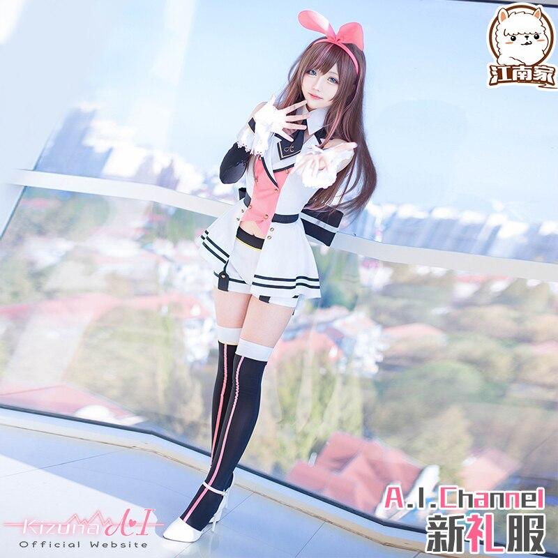 Novo anime virtual youtuber kizuna ai cosplay trajes bonito menina bonita orelhas de coelho terno vestido formal role play prop roupas