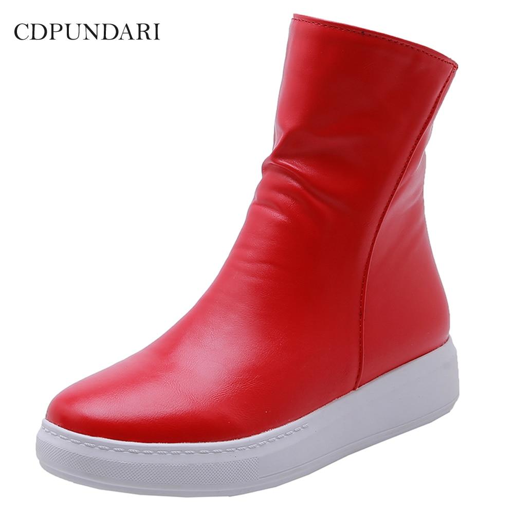 حذاء نسائي بنعل سميك ، حذاء كاجوال مسطح ، قصير ، أحمر ، أبيض وأسود ، لفصلي الربيع والخريف