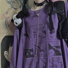2021 autumn new women's T-shirt Japanese animation printing Harajuku loose Korean round neck long sl