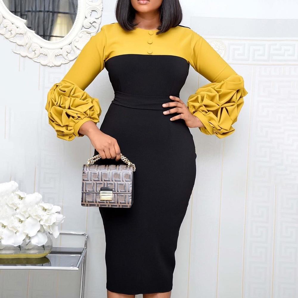Pleated Lantern Sleeve Bodycon Midi Dress African Women Office OL Maxi Vestidos Elegant Patchwork Plus Size Blue Yellow Robe