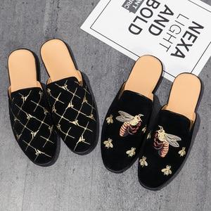 Black Bee Embroidered Loafer Shoes Men's Mules Shoes Lightweight Low Cut Breathable Half Shoes Men Slip-on Flat Men Design Shoes