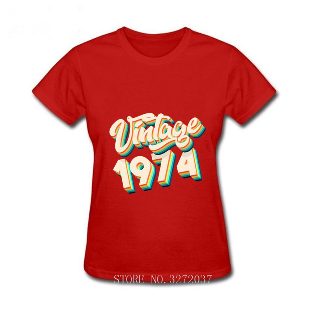 Vintage 1974 todas las piezas originales 46 cumpleaños Regalos camiseta mujeres novedad Tops esposa marido manga corta Camiseta familia camisetas