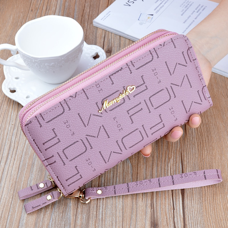 New Zipper PU Women's Wallet Ladies Long Large Capacity Clutch Double Card Package Korean Letter Coi