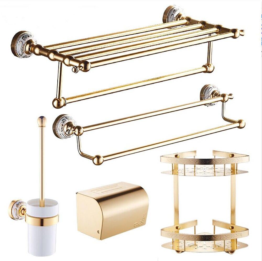 مجموعة ملحقات الحمام من الذهب المصقول ، ورف مناشف ، وحامل ورق ، وحامل فرشاة المرحاض ، ومجموعة أدوات الحمام