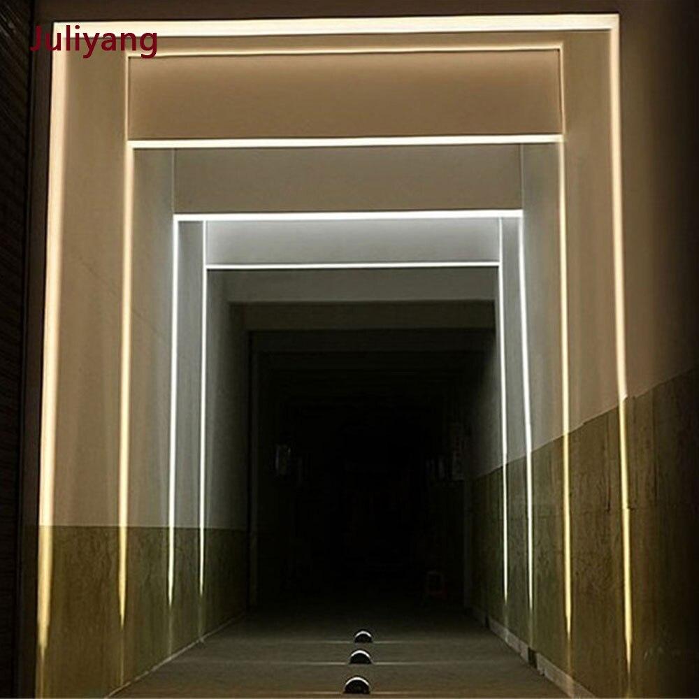 Lámpara de Pared luminosa LED8W para exteriores, impermeable, para ventana, de cuatro lados, luz creativa para contorno, marco de puerta, lámpara de aplique, AC85-265