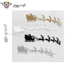 Piggy Craft metal cutting dies cut die mold Christmas santa sleigh deer Scrapbook paper craft knife mould blade punch stencils