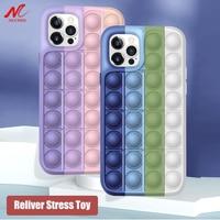Новинка, антистрессовый чехол для iPhone 12, 11 Pro, Max, X, Xs, Xr, 7, 8 Plus, сжимаемая пузырьками сенсорная игрушка, мягкий силиконовый Радужный чехол
