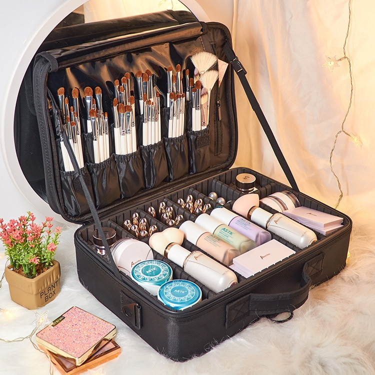 Multifunctional storage partition cosmetic bag portable tattoo large capacity  travel portable storage cosmetic case