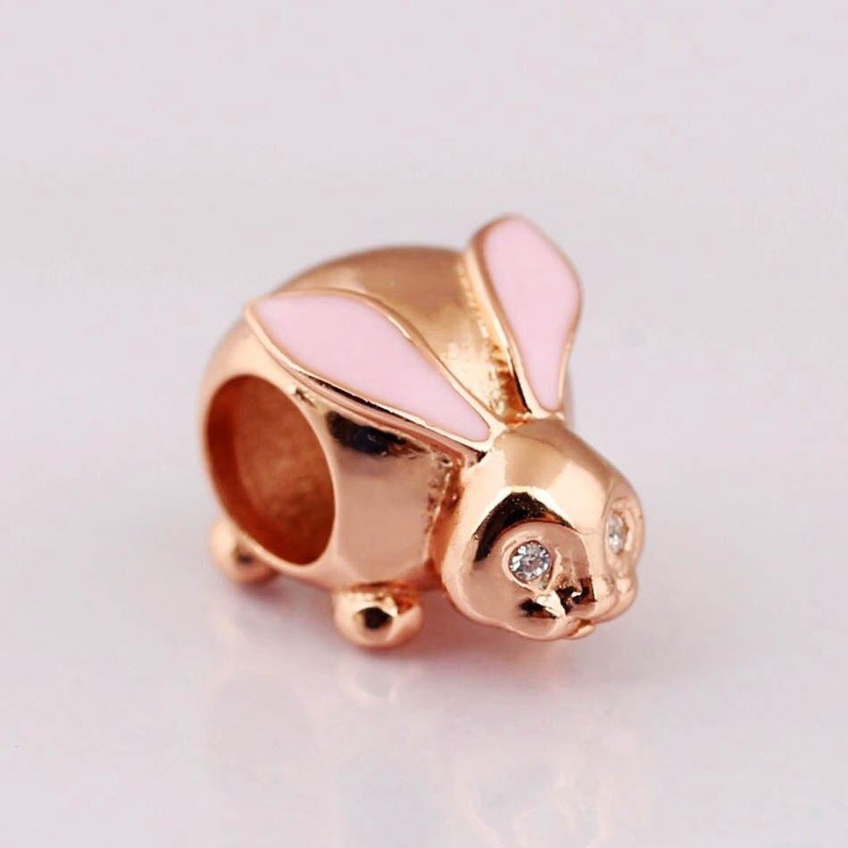 Pulsera auténtica para mujer de Charmfit S925, abalorio de conejo, color rosa dorado, joyería DIY para mujer