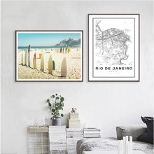 Brazil Rio De Janeiro City Map Art Print Poster Wall Decor , Surfboards On Sandy Beach Canvas Painting Tropical obrazy plakat