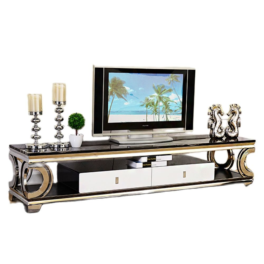 modern style cabinet cupboard matt body and glossy fronts led light living room furniture tv unit stand cabinets Natural marble Stainless steel TV Stand modern Living Room Home Furniture tv led monitor stand mueble tv cabinet mesa tv table