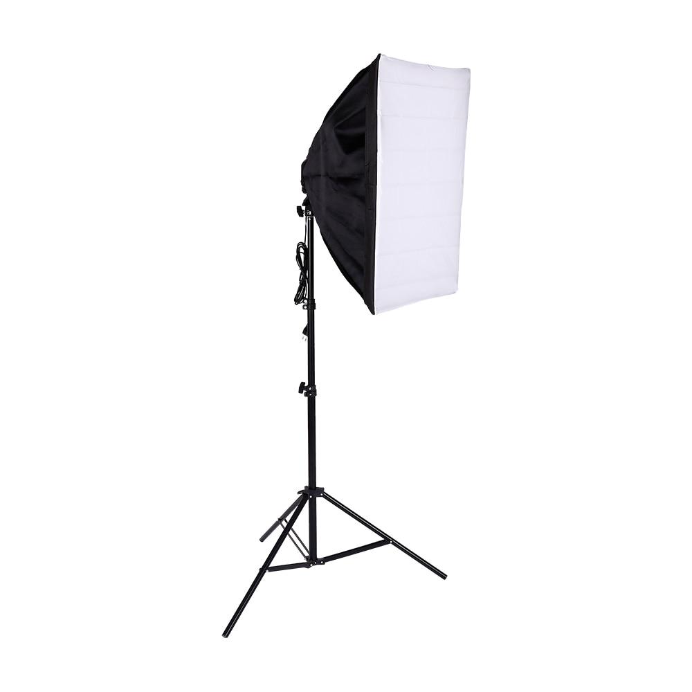 Tienda Softbox para estudio fotográfico de 50x70cm con soporte de lámpara individual para iluminación continua E27 fotográfica con soporte de luz y bombilla de 20w