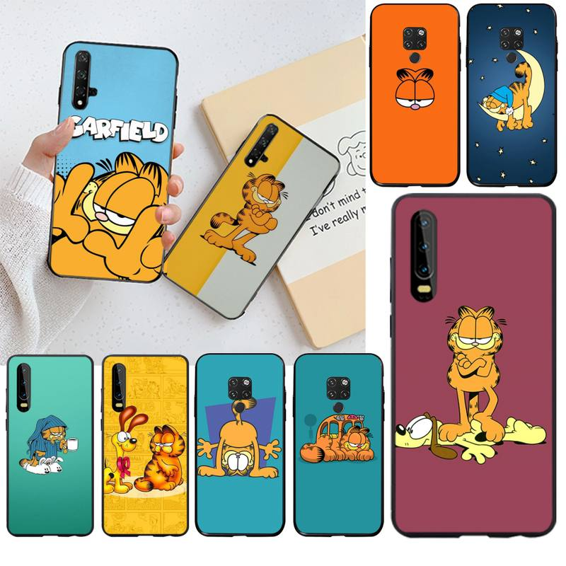 Bonita funda de dibujos animados Garfield negra suave funda del teléfono carcasa para Huawei P40 P30 P20 lite Pro Mate 20 Pro P Smart 2019 prime