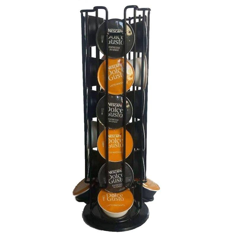 مناسبة ل كبسولة كبيرة القهوة تخزين الرف 24 المعادن الدورية رف كبسولة عرض برج رف من الفولاذ المقاوم للصدأ التخزين