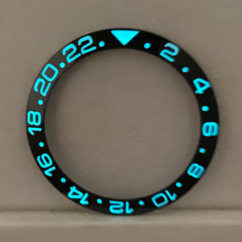 338mm40mm blue-green luminous ceramic bezel for RLX submarine GMT SKX007 skx00 9OMG seahorse 300m watch with embedded outer ring 38mm black green ceramic luminous watch ring insert rlx sub 40mm submarine 116610lvn bezel noob ar vr clean zz factory case