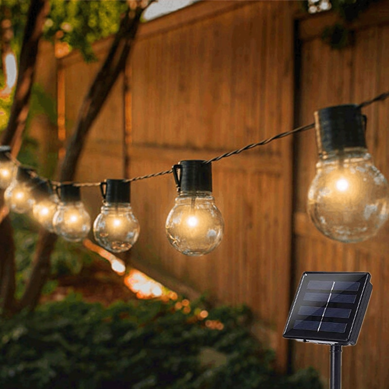 Outdoor Garland Street LED G50 Bulb Solar Energy String Light As Christmas Decoration Lamp For Home Indoor Holiday Lighting new portable solar panels charging generator power system home outdoor lighting for led bulb