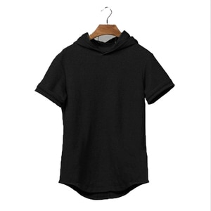 Men's summer thin solid color blank Muscle Men's slim and breathable fitness sports hooded short sleeve T-shirt
