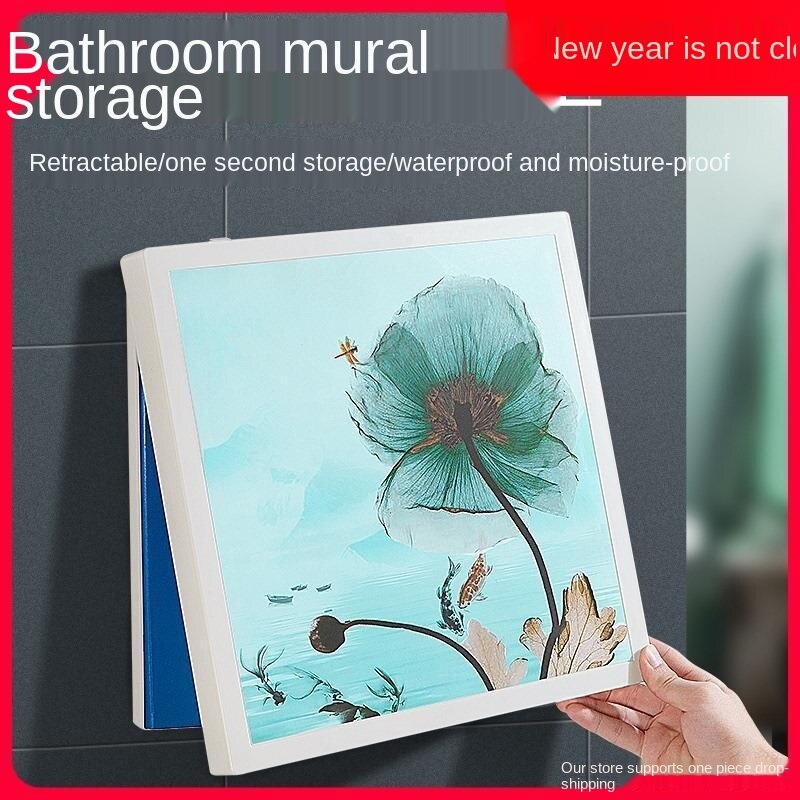 Bathroom mural folding storage cabinet toilet bath clothes shelf wall hanging clothes artifact