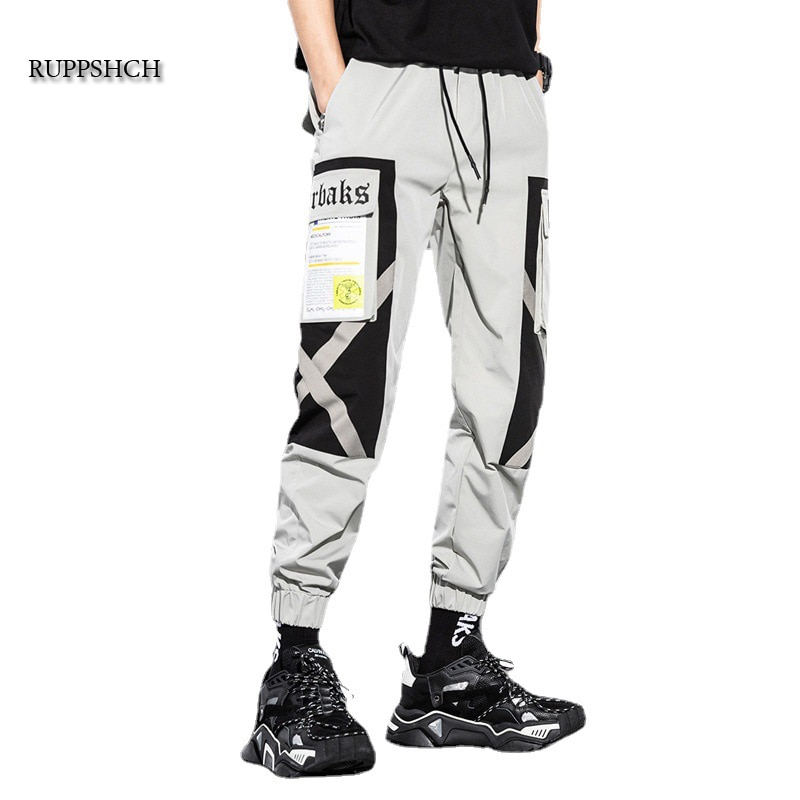 Cargo Pants Men Jogger Overalls Streetwear Hip-Hop Casual Pockets and Ribbon Cotton Sweatpants Haraj