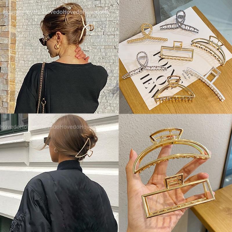 aliexpress - Women Girls Geometric Metal Hair Claw Clip Clamps Hair Crab Diverse Shape Hair Clip Hairpin Large Size Hair Accessories Gifts