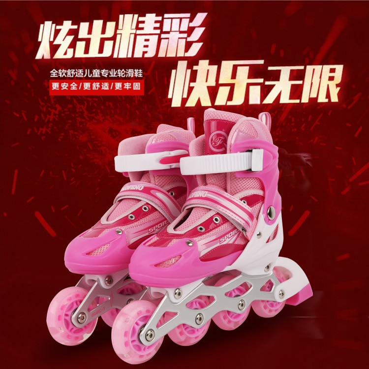 Профессиональные роликовые коньки, 4-х колесные розовые кроссовки, роликовые коньки, четырехколесные скейты, спортивное оборудование BI50SS