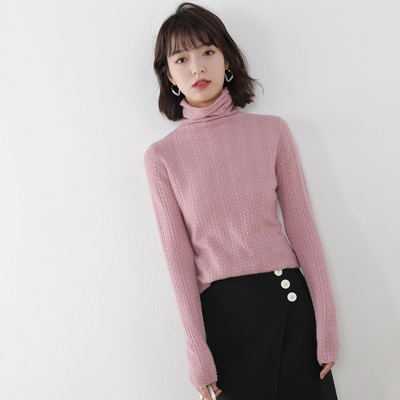 adishree 2021 woman winter 100% Cashmere sweaters and autumn knitted Pullovers High Quality Warm Female thickening Turtleneck enlarge