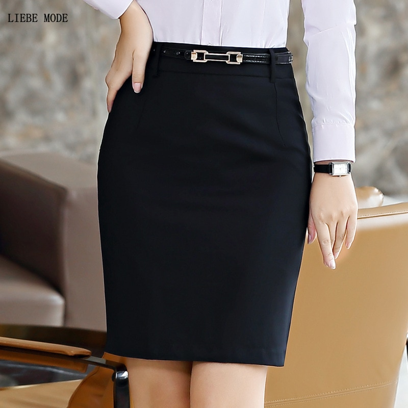 Women Formal Work Wear Pencil Skirt Ladies Bodycon A-line Skirts Plus Size Black Grey Blue Business Career Suit Skirt Women 5XL