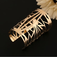 2020 mode or argent couleur grand large ouvert bracelets pour femme Vintage creux manchette Bracelet bijoux accessoires